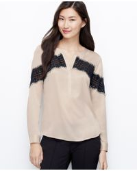 Ann Taylor Crepe Placed Lace Blouse - Lyst