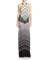 Halston Heritage Printed Halter Maxi Dress - Lyst