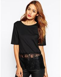 Asos Top With Lace Panel - Lyst