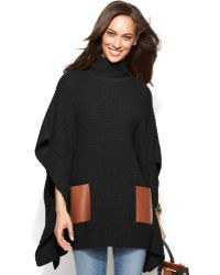 Michael Kors Michael Faux-leather-pocket Turtleneck Poncho - Lyst