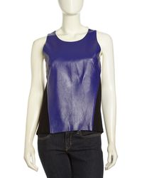 Sachin & Babi Sachin Babi Colorblock Knit Leather Tank Iris - Lyst