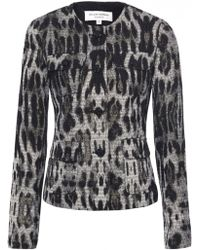 Helene Berman Metallic Leopard Cropped Jacket animal - Lyst