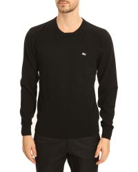 Lacoste Roundneck Black Cashmere Sweater - Lyst