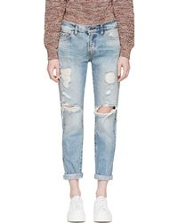 Levi's Blue Customized Lisa Marie Ripped 505 Jeans - Lyst