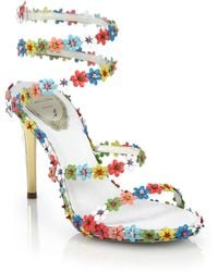 Rene Caovilla Flower-Beaded Leather Sandals - Lyst