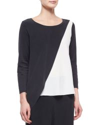 Go Silk Spliced Asymmetric Silk Top - Lyst