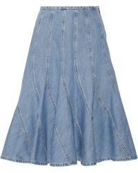 Michael Kors Fluted Denim Skirt - Lyst