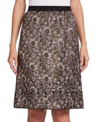 Marc Jacobs Floral Lurex Jacquard A-Line Skirt gold - Lyst