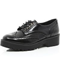 River Island Black Patent Cunky Brogues - Lyst