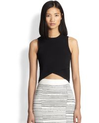 A.L.C. Nat Crossover Stretch Knit Cropped Top - Lyst