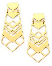 Tory Burch Chevron Drop Earrings - Lyst