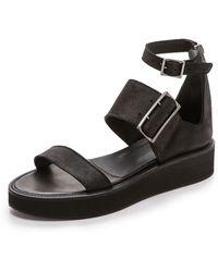 Helmut Lang Shale 3 Strap Sandals - Black - Lyst