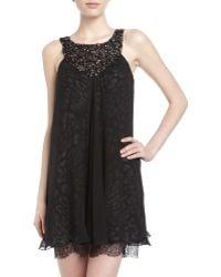 BCBGMAXAZRIA Crystal Embellished Leopard Print Shift Dress - Lyst