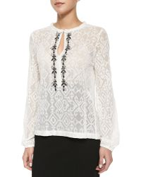 Nanette Lepore Embroidered-Trim Sheer Lace Blouse - Lyst