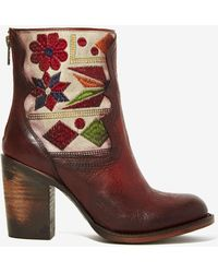 Nasty Gal Freebird Hendrix Leather Tapestry Boot - Brown - Lyst
