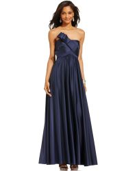 JS Collections Strapless Pleated Gown - Lyst