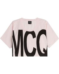 McQ by Alexander McQueen Cropped Cotton T-Shirt - Lyst