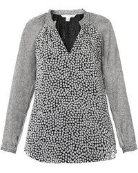Diane Von Furstenberg V-neck Contrast-print Blouse - Lyst