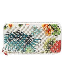Christian Louboutin | 'panettone' Spiked Floral Print Calfskin Wallet | Lyst