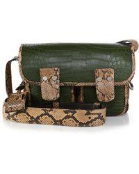 Michael Kors Taylor Nile Crocodile & Snakeskin Messenger Bag green - Lyst
