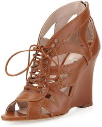 Miu Miu Laceup Leather Wedge Sandal - Lyst
