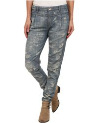 Free People Blue Destroyed Denim - Lyst