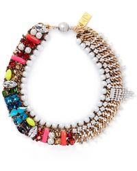 Assad Mounser 'Bette' Rhinestone Fringe Jewel Pearl Collar Necklace - Lyst