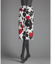 Dolce & Gabbana | Rose And Heart Print Cady Pencil Skirt | Lyst