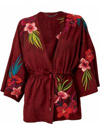 Matthew Williamson Embroidered Suede Kimono Jacket - Lyst