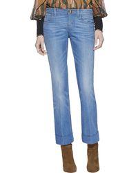 Gucci Washed Denim Skinny Flare Pant - Lyst