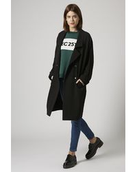 Topshop Black Duster Coat - Lyst