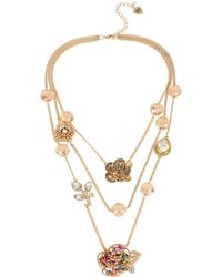 Betsey Johnson - Rose Goldtone Tiered Illusion Necklace - Lyst