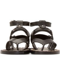 Isabel Marant Black Leather Justy Sandals - Lyst