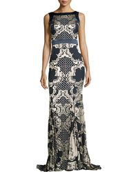 Badgley Mischka Collection Sleeveless Lace Burnout Gown - Lyst