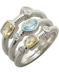 Judith Ripka Sky Blue and Canary Crystal Three Band Ring silver - Lyst