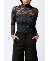 Ganni | black L/s Lace Bodysuit | Lyst