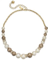 Kate Spade New York Gold-tone Faux Pearl and Crystal Graduated Collar Necklace - Lyst