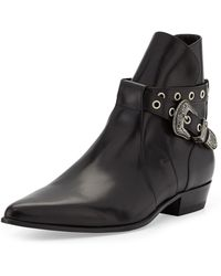 Saint Laurent Duckies Beltdetail Leather Boot - Lyst