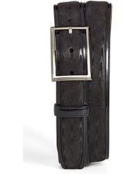 Mezlan Herringbone Suede & Leather Belt black - Lyst