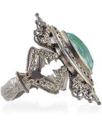 Armenta - New World Scalloped Green Turquoise & Diamond Ring - Lyst