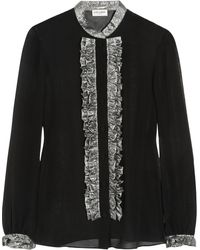 Saint Laurent Lamãruffled Silkchiffon Blouse - Lyst