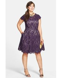 Eliza J Belted Lace Fit & Flare Dress - Lyst