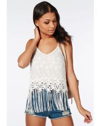 Missguided Flower Detail Fringed Cami Top White - Lyst