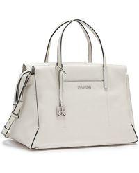 Calvin Klein White Label Harper Textured Leather Satchel - Lyst