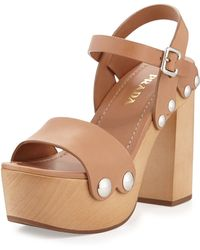 Prada Leather Ankle-Wrap Sandal Clog - Lyst