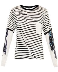 Tibi Stripe And Tattoo-Print Cotton Sweater - Lyst