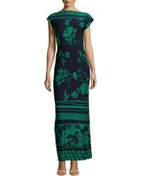 Melissa Masse Capsleeve Mixedprint Maxi Dress - Lyst