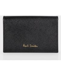 Paul Smith Black Saffiano Calf Leather Credit Card Holder - Lyst