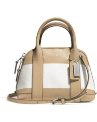 Coach Bleecker Mini Preston Satchel In Striped Coated Canvas - Lyst