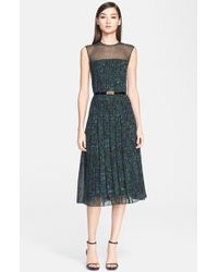 Jason Wu Abstract Print Pintuck Pleated Georgette Dress With Belt - Lyst